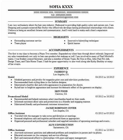 Resume Model by Model Resume Sle Model Resumes Livecareer