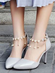 Size Chart Red High Heels Pointed Toe Women 39 S Pearls Ankle Pump