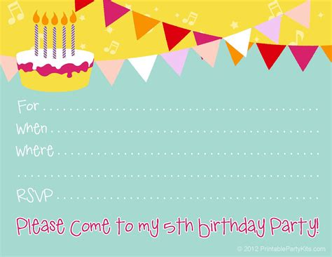 template free singing birthday cards together with free birthday invitations kids birthday invite template