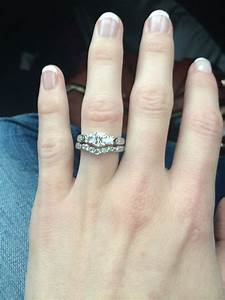 show me your 3 stone engagement rings with your wedding With wedding bands that go with 3 stone rings
