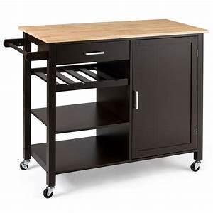 Giantex, Kitchen, Island, Cart, Rolling, Serving, Cart, Wood, Trolley