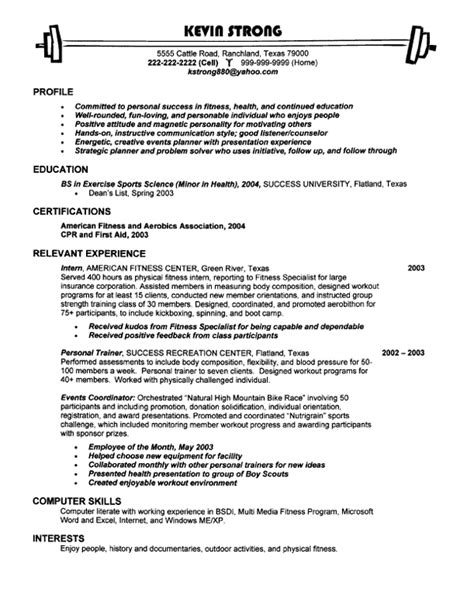 work in logon resume fitness entry level resume sles vault