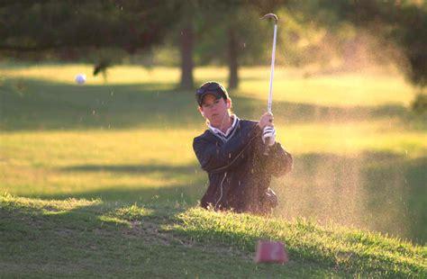 silhouette  man playing golf  sunset  stock photo