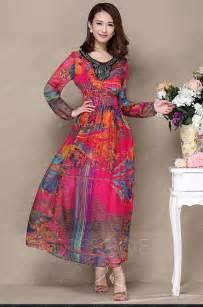 Dresswe Standard Silk Long Sleeves Floral Printing Spring/Summer Beach Dress