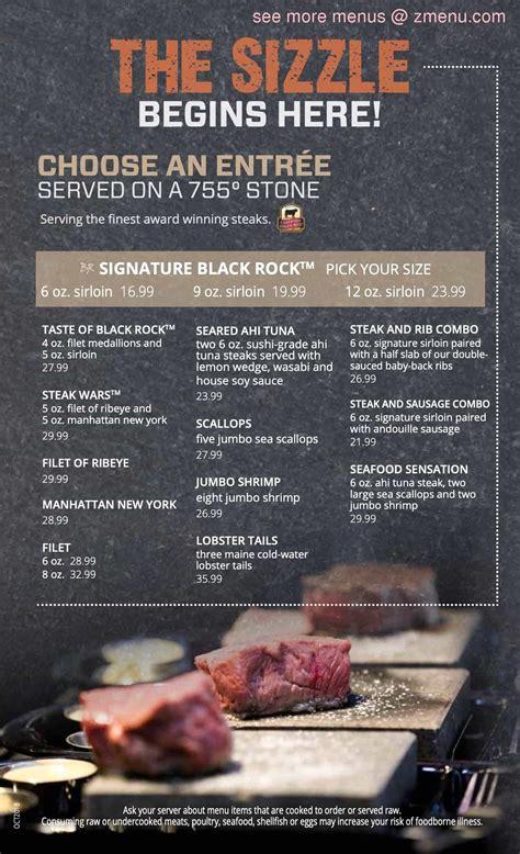 menu  black rock bar grill restaurant toledo