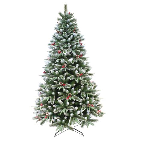 snowiest fake tree premium mixed pine artificial tree with snow tips pinecones berries ebay