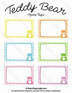 free printable teddy bear name tags the template can also With name the bear template