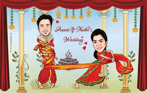 A Cute And Funny Caricature Of A Couple Where The Bride