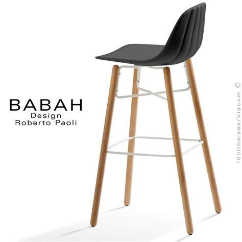 Tabourets Et Chaises De Bar Tabouret De Bar Design Babah Wood 80 Pieds Bois Naturel Assise Coque Plastique Dossier
