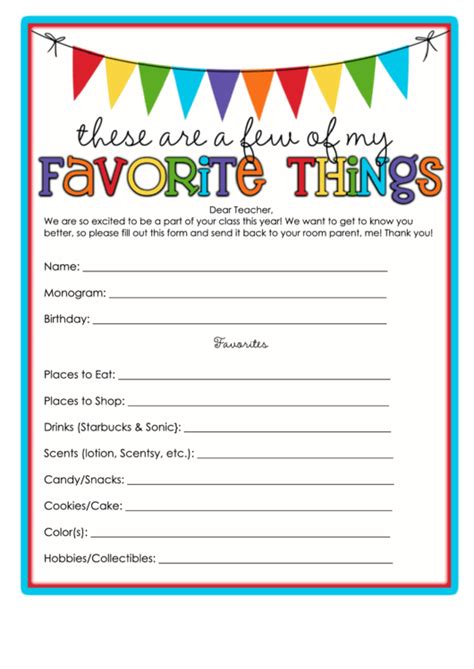 favorite  template writing template printable