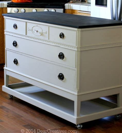 how to turn a dresser into a kitchen island dresser to kitchen island cart diy with chalkyfinish 9935
