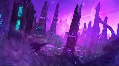 Purple Futuristic Neon Nights Amethyst Deviantart Artwork