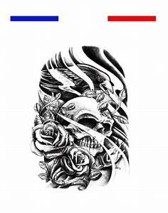 Dessin Tete De Mort Avec Rose : tatouage t te de mort aigle et roses mon petit tatouage temporaire ~ Melissatoandfro.com Idées de Décoration