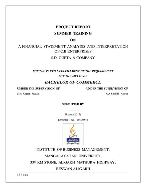 project report  financial statement analysis