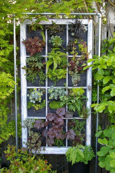 window gardens love this idea vertical garden out of an old window this would be great to hide an eyesore