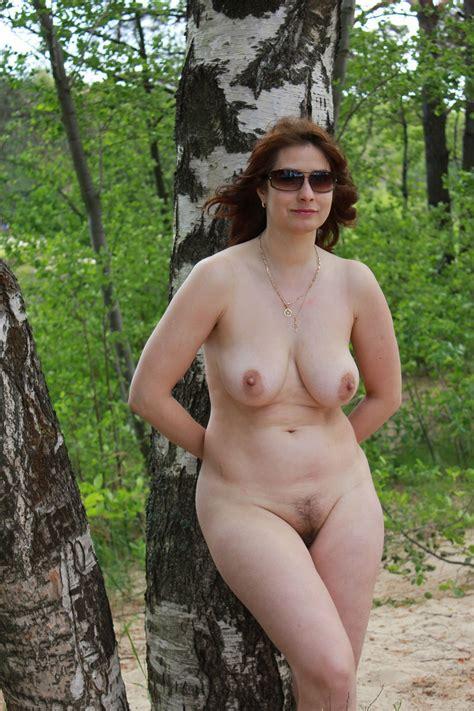 Mature naked women outdoors