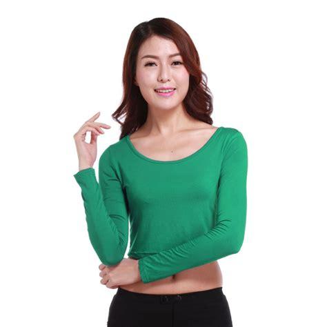 crop top blouse crewneck sleeve slim midriff crop tops modal