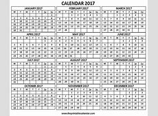 2017 Calendar 12 months calendar on one page Free