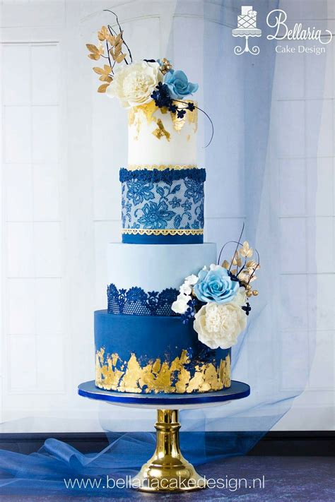 navy blue  gold wedding cake wedding