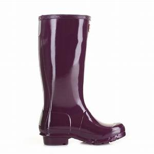 GIRLS KIDS HUNTER ORIGINAL GLOSS BRIGHT PLUM WELLINGTON ...