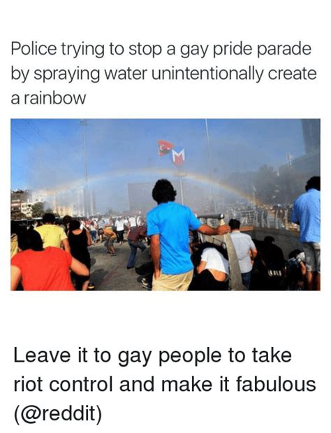 Gay Parade Meme - police trying to stop a gay pride parade by spraying water unintentionally create a rainbow
