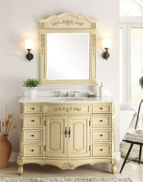 42 inch cream bathroom vanity with crystal white marble