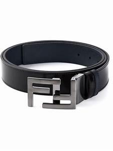 Lyst - Fendi Logo Buckle Leather Belt in Black for Men
