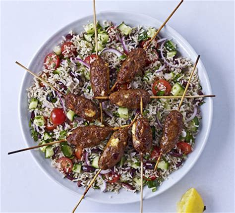 spicy lamb feta skewers  greek brown rice salad