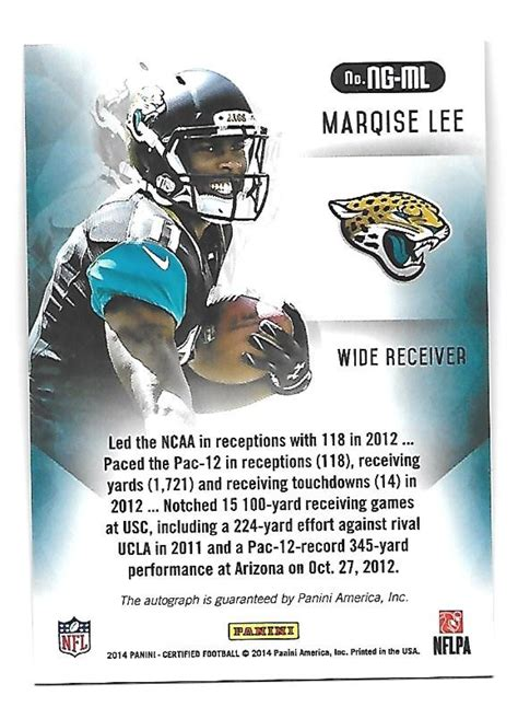 MARQISE LEE 2014 Certified New Generation Rookie RC ...
