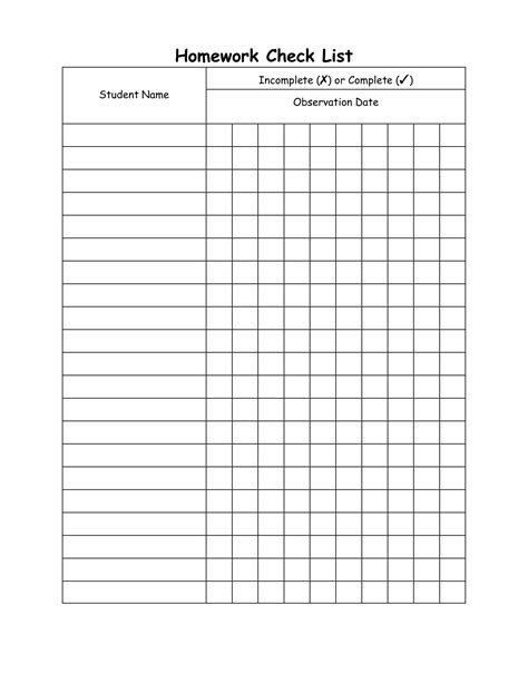 homework checklist homework check list incomplete x or complete t student name products