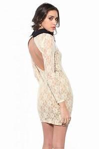 Reverse Reverse Long Sleeve Lace Open Back Dress in White ...