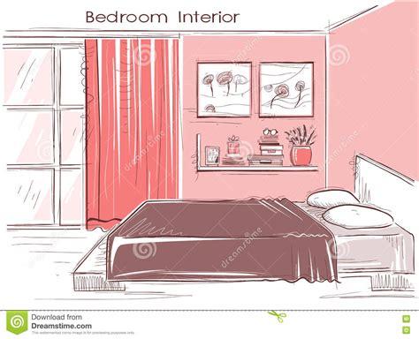 l évadé de la chambre 9 intérieur de chambre à coucher de couleur de vecteur
