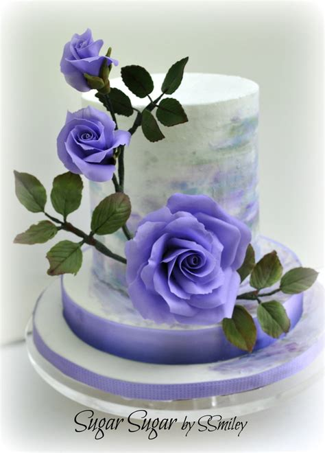 painted cake  purple roses cakecentralcom