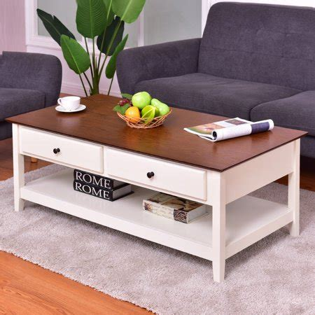 Glass coffee table with storage modern living room furniture tea coffee table uk. Rectangle Wood Coffee Table w/ Drawer & Storage Shelf - Walmart.com