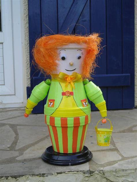cr 233 ation personnage en pot de terre homme vert et orange cr 233 ations personnage en pot de