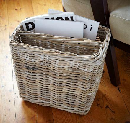 STORE   Grey Wicker Magazine Basket