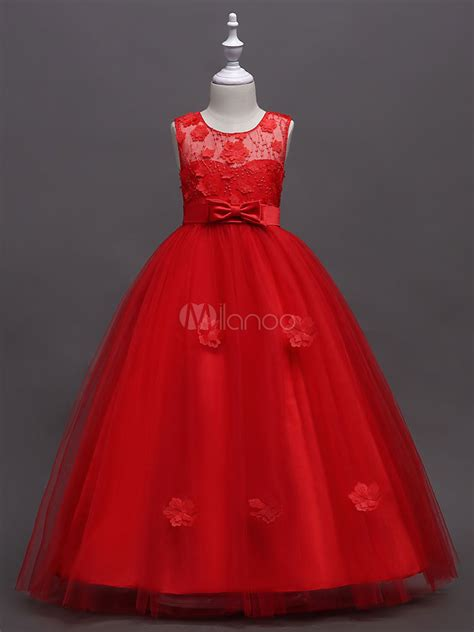 flower girl dresses red ball gowns kids applique bow sash