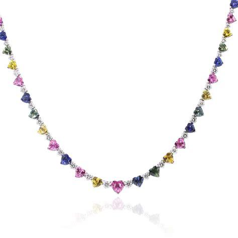 multi gemstone necklace 18k white multi colored gemstone 4 6ctw necklace