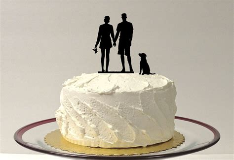 Beach Couple Dog Silhouette Wedding Cake By