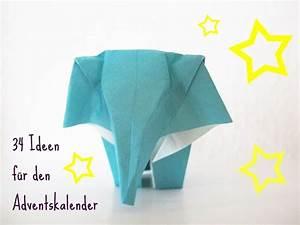 Adventskalender Füllung Ideen : adventskalender ideen bef llung f llung elefant origam kinder diy selbrmachen basteln ~ Orissabook.com Haus und Dekorationen