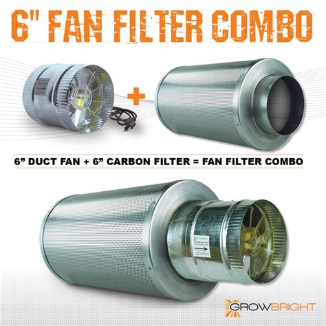 small carbon filter fan combo 6 quot x 18 quot carbon air filter pro combo six inch duct fan