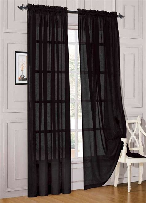 Draped Curtains - 8 panels black sheer voile window panel solid brand new