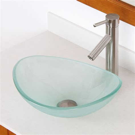 """Bathroom 16"""" Small Frosted Glass Vessel Sink & Nickel"""