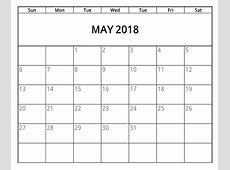 May Calendar 2018 Printable Cute with Pretty Clip art