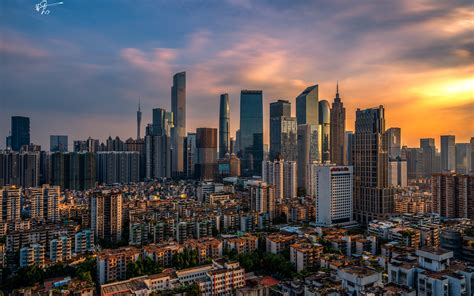 City At Dusk, Buildings, Houses, Guangzhou, China