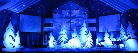 white christmas light projector throwback whoville trees church stage design ideas