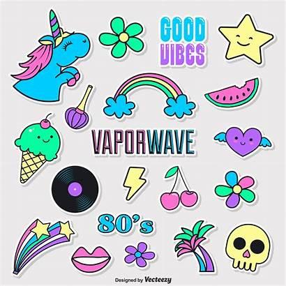 Vector Stickers Vaporwave Doodle Funky Girly Unicorn