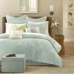 athena jacquard soft blue green and white floral comforter sets with brown fabric swing