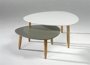 Table Basse Scandinave Blanche : table basse gigogne blanche grise le bois chez vous ~ Teatrodelosmanantiales.com Idées de Décoration