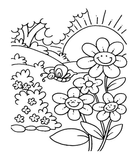 spring flower  garden coloring pages  kids spring